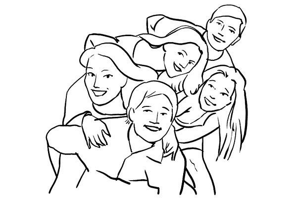 pattern of group photo